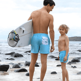 Dad and son matching board shorts