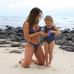 Matching Swimwear, Girls' One Piece Swimsuit, White on Navy Polka Dot