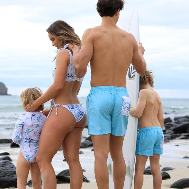 family matching swimwear floral pocket blue