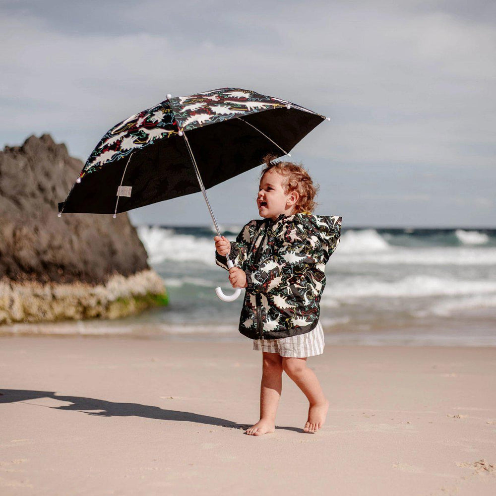 kids' colour changing raincoat black dinosaur design Holly and Beau
