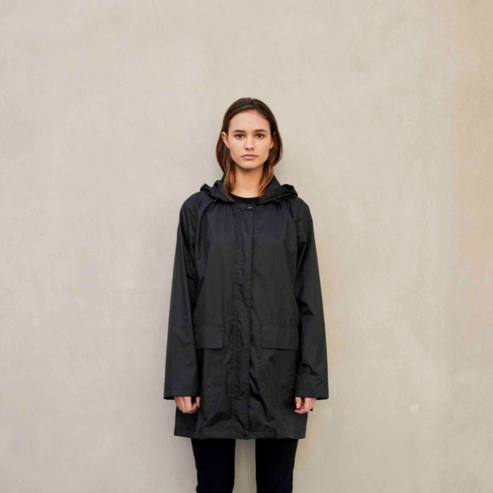 womens raincoat black packable hooded