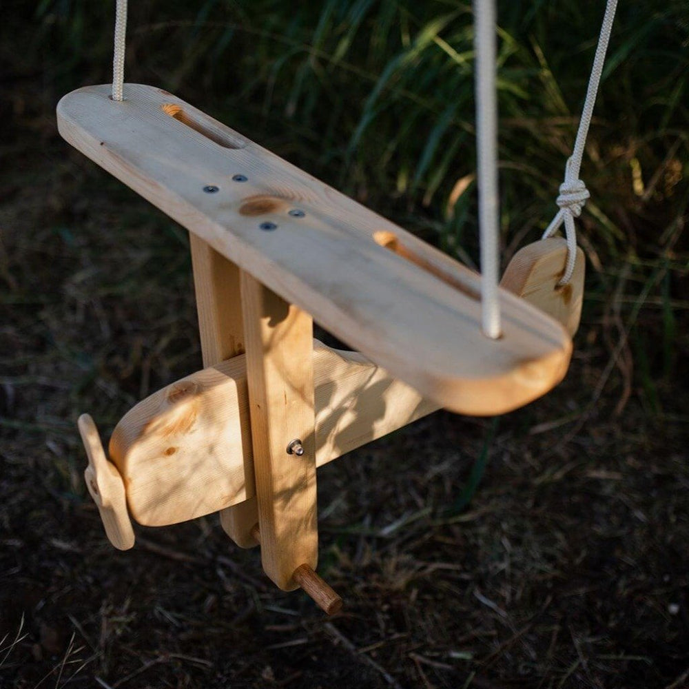 Wooden Garden Swing for Toddlers, Airplane, Windy Hill Adventures - Upper Notch Club