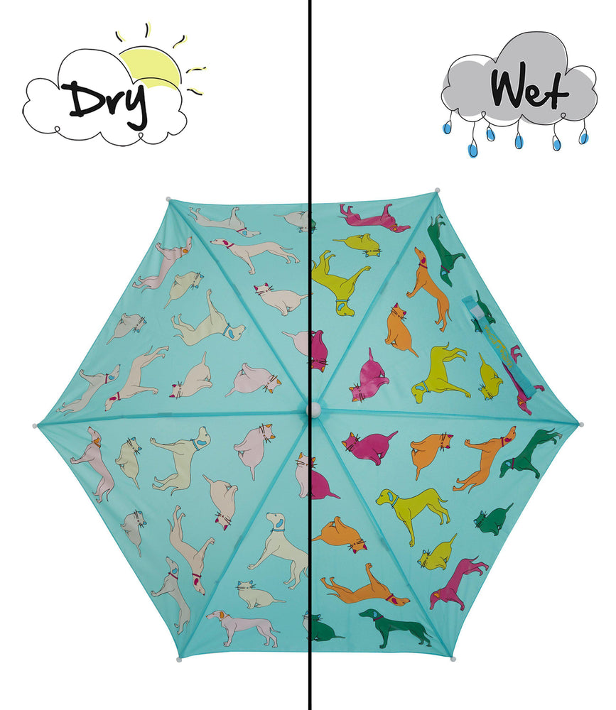 Kids' Colour Changing Umbrella, Cats and Dogs, Blue