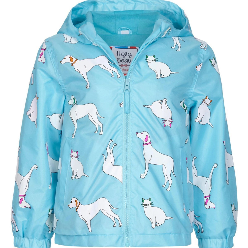 kids' colour changing raincoat light blue cats and dogs design holly and beau Australia