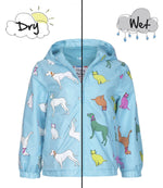 Kids' Colour Changing Raincoat, Cats and Dogs, Blue