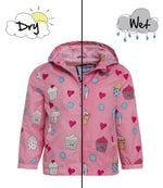 Kids' Colour Changing Raincoat, Cupcake, Pink