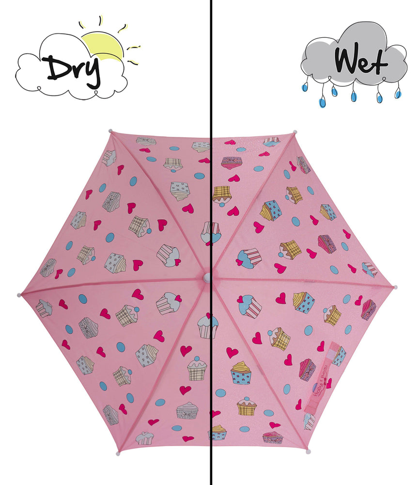Kids' Colour Changing Umbrella, Cupcake, Pink