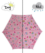 kids' colour changing umbrella pink cupcake design Holly and Beau