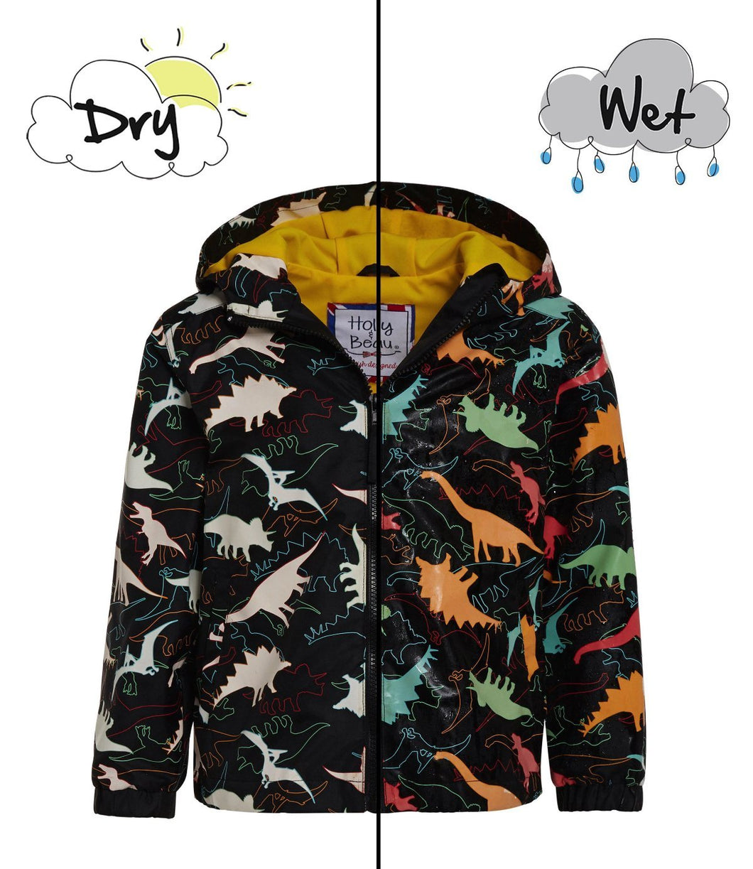 kids' colour changing raincoat dinosaur design