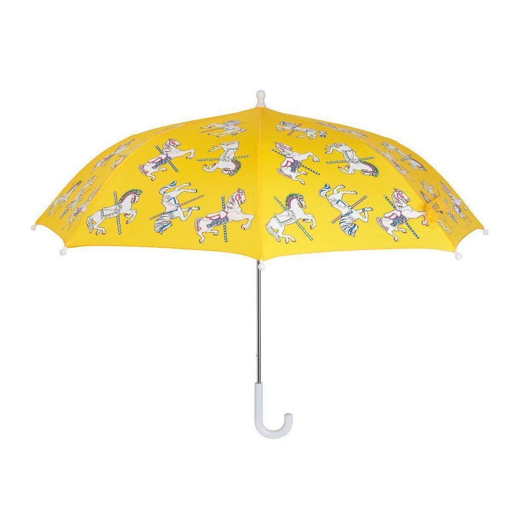 girls colour changing umbrella stick yellow carousel design Holly and Beau dry