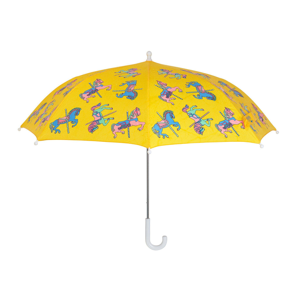 girls colour changing umbrella stick yellow carousel design Holly and Beau wet