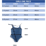 girls one piece swim wear sizing chart