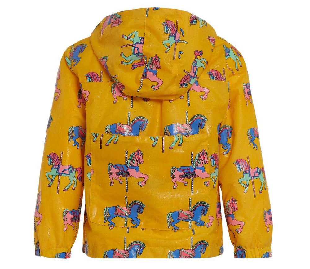 kids' colour changing raincoat yellow carousel design back wet