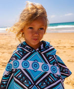 quick dry beach towel poncho for kids blue
