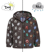 kids' colour changing raincoat grey monster design Holly and Beau