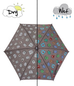 Kids' Colour Changing Umbrella, Monster, Grey