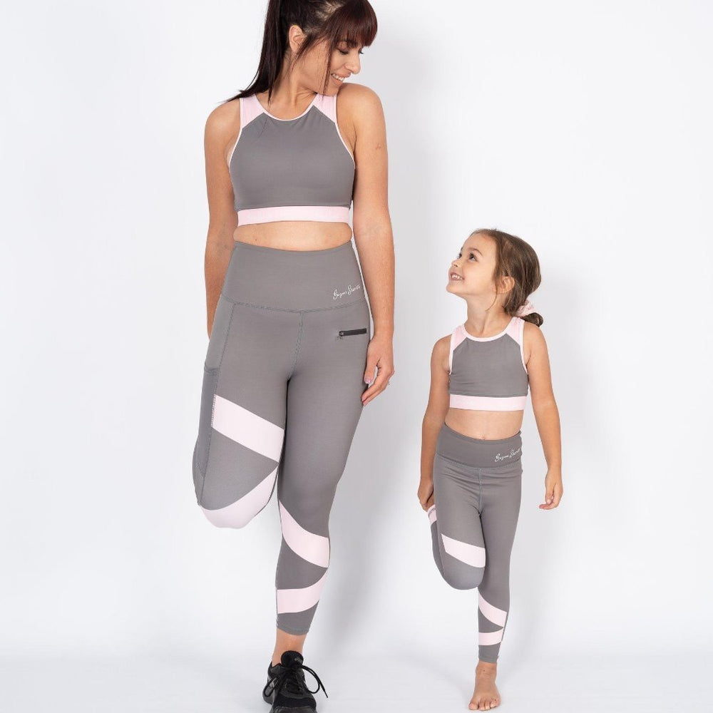 gym secrets sports bra and leggings stone and blush mini and me matching active wear