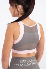 gym secrets sports bra stone and blush back