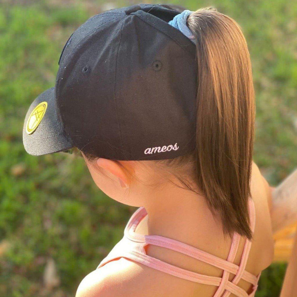 messy bun high ponytail cap for women and girls amesos black