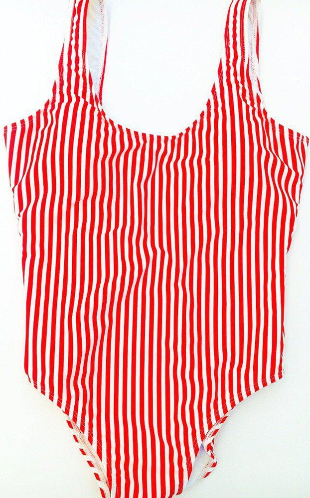 womens one piece swimsuit red stripe