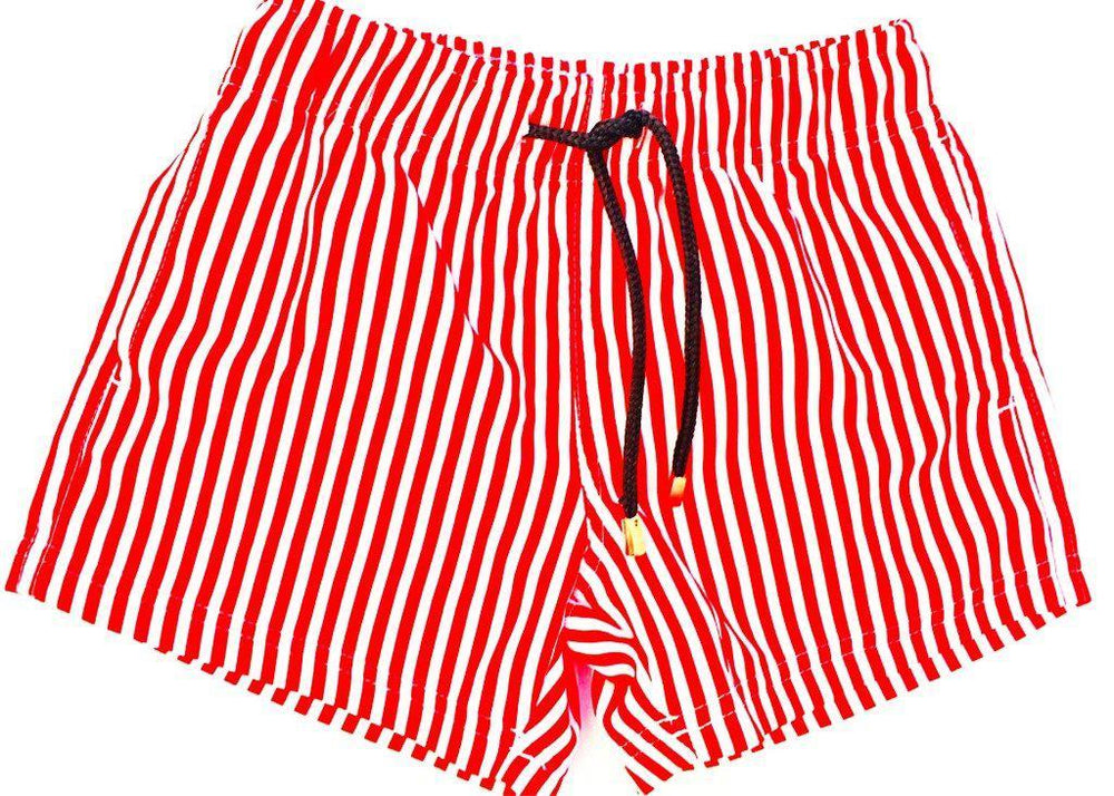 boys board shorts red stripe