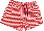 Matching Swimwear, Boy's Board Shorts, Red and White Classic Stripe