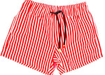 Matching Swimwear, Men's Board Shorts, Red and White Classic Stripe - Upper Notch Club