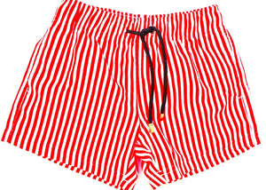 Matching Swimwear, Men's Board Shorts, Red and White Classic Stripe