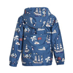kids' colour changing raincoat navy pirate design Holly and Beau dry back