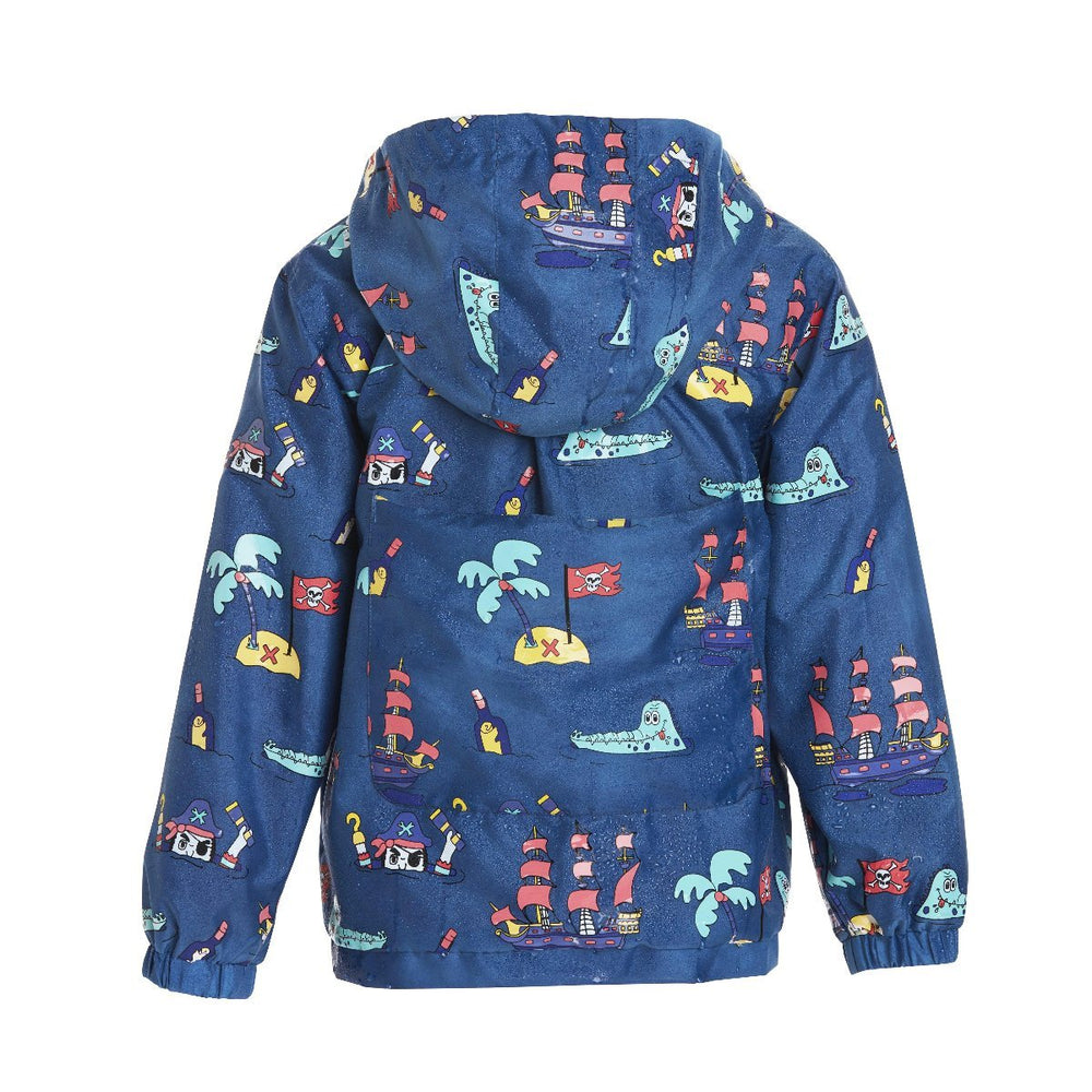 kids' colour changing raincoat navy pirate design Holly and Beau when wet back