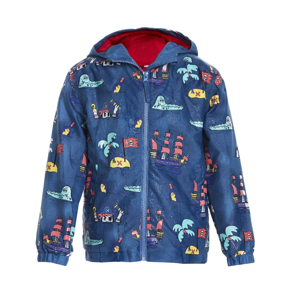 kids' colour changing raincoat navy pirate design Holly and Beau