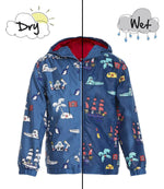 Kids' Colour Changing Raincoat, Pirate, Navy Blue