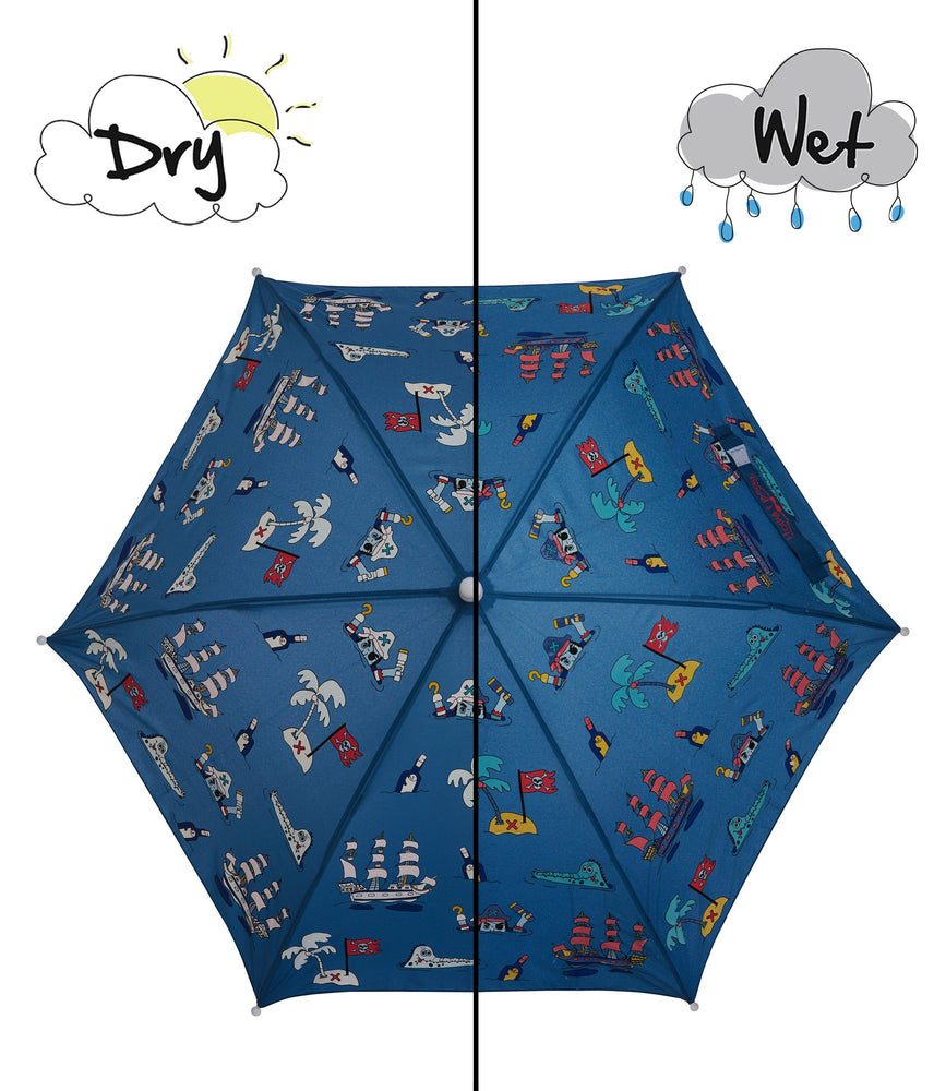 kids' colour changing umbrella navy blue pirate design Holly & Beau