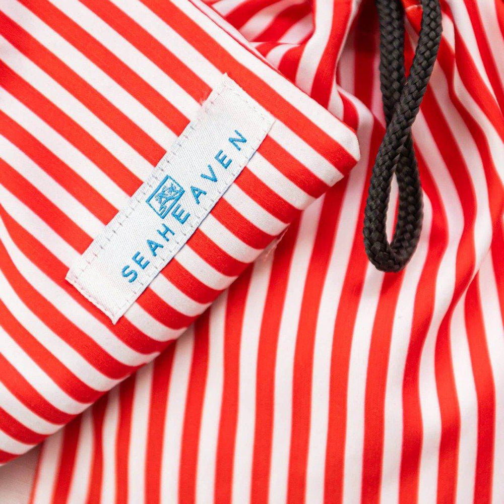 Matching Swimwear, Boys' Board Shorts, Red and White Classic Stripe - Upper Notch Club