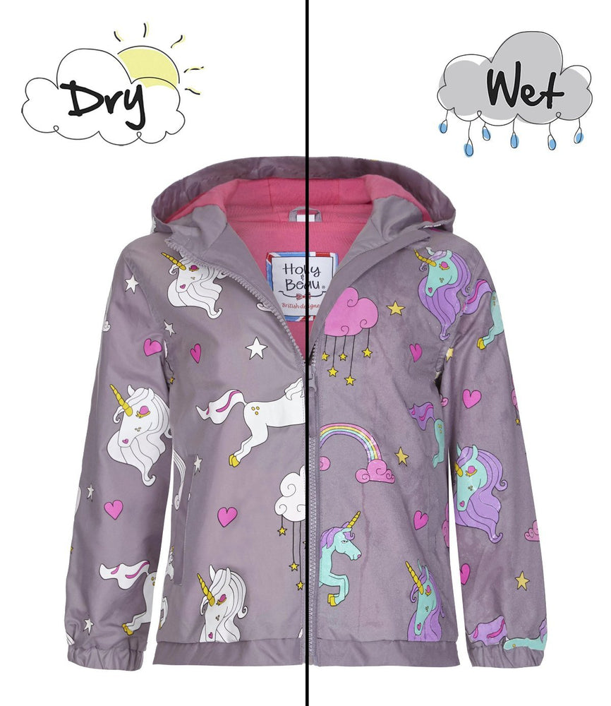 kids' colour changing raincoat unicorn design