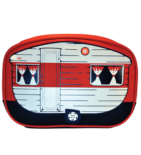 travel wash bag red camper van inspired toiletry bag