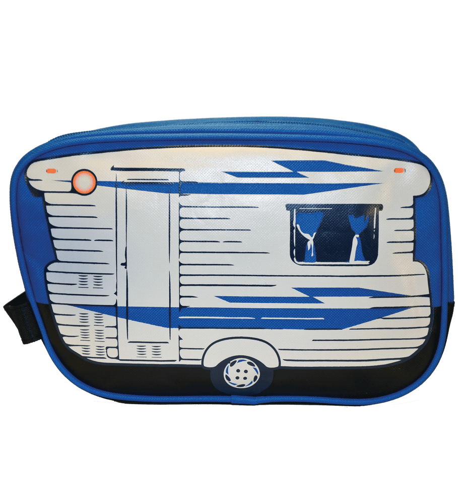 travel wash bag blue camper van inspired toiletry bag