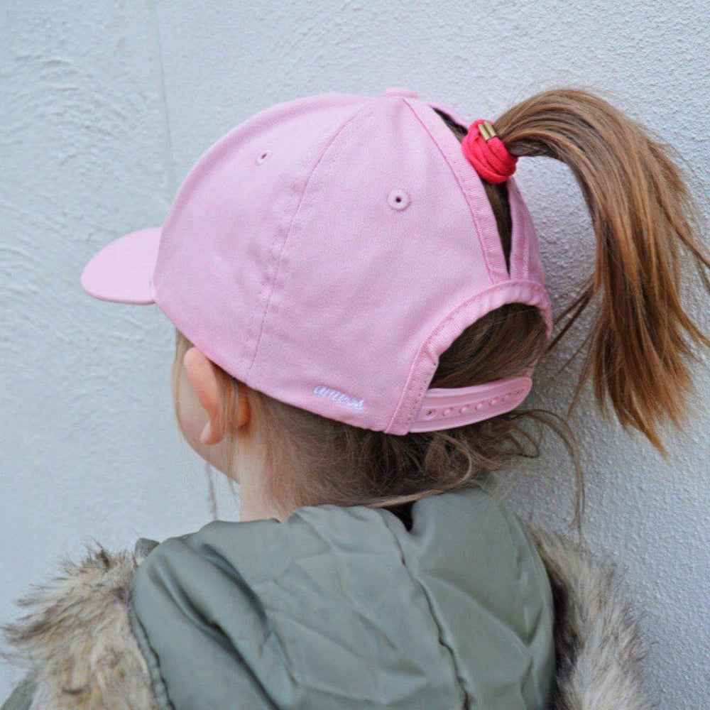 split cap high ponytail girls hat pink