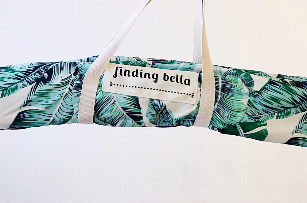 Beach Umbrella with Fringe Finding Bella Tropical Leafy Green Folded