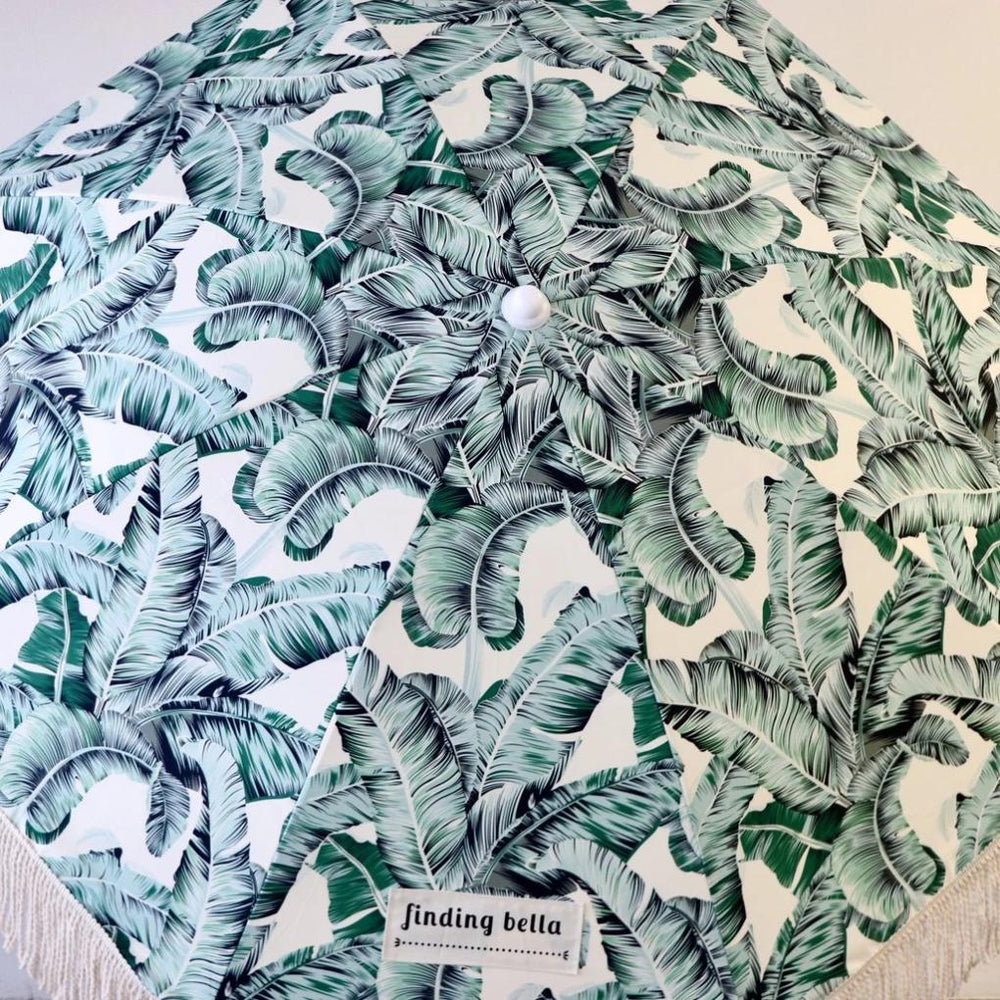 Beach Umbrella with Fringe Finding Bella Tropical Leafy Green Pattern