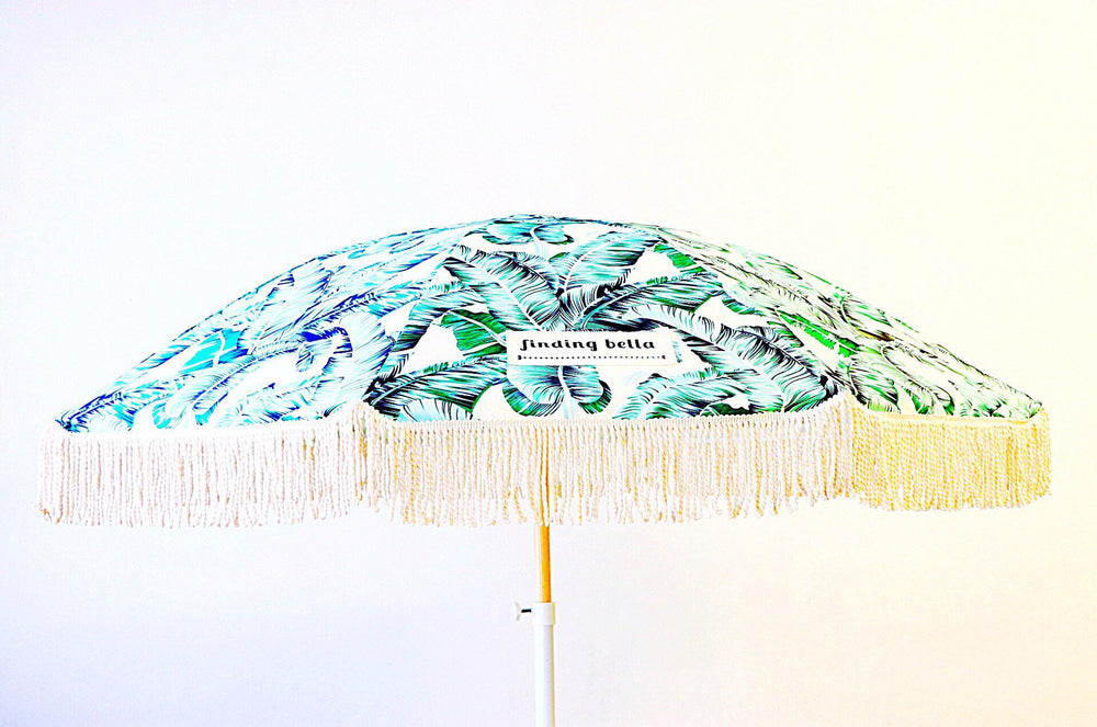 Beach Umbrella with Fringe Finding Bella Tropical Leafy Green Open