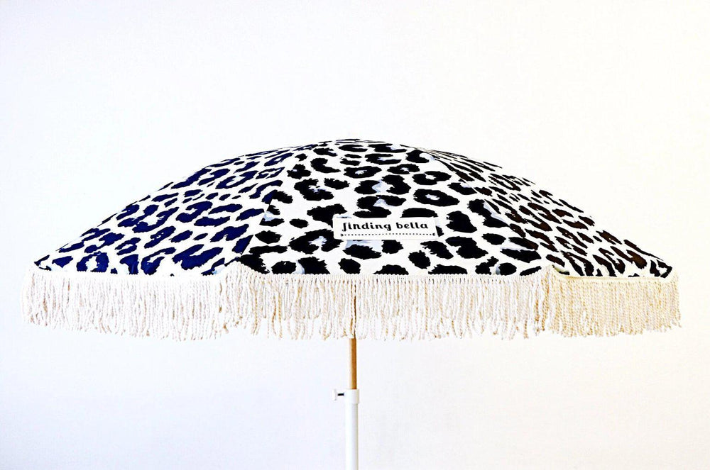 Beach Umbrella with Fringe Finding Bella Leopard Print open
