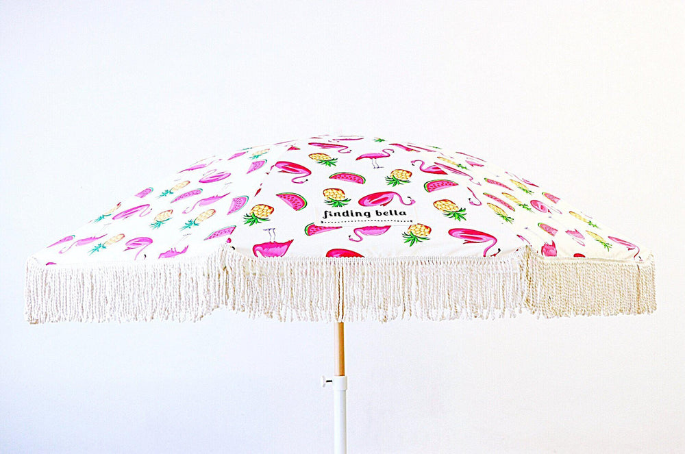 durable beach umbrella with fringe pink flamingo outdoor umbrella