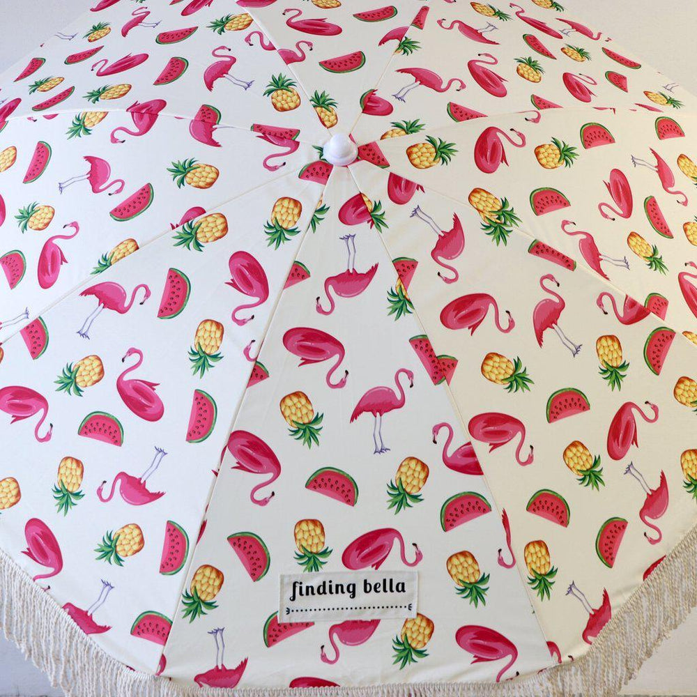 durable beach umbrella with fringe pink flamingo