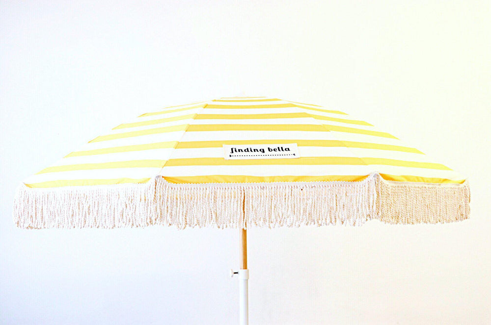 Beach Umbrella with Tassels Finding Bella Classic Yellow Stripe