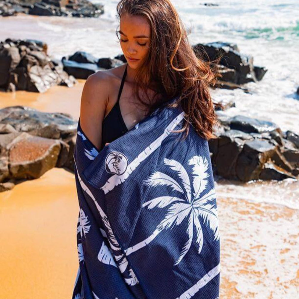 sand free beach towel australia navy with palm trees