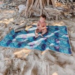 waterproof activity mat outdoor play mat blue blush and blocks beach
