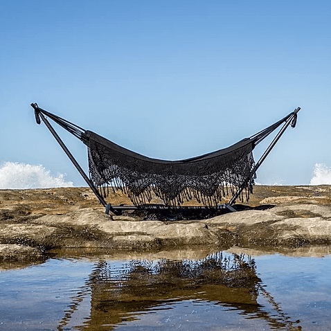 Hammock with Stand, Hippie, Black