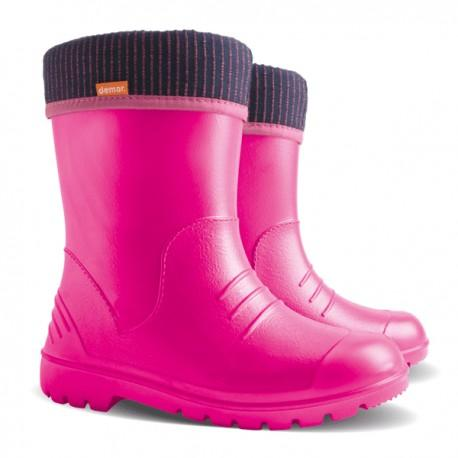 kids' lightweight gumboots with a sock insert pink colour