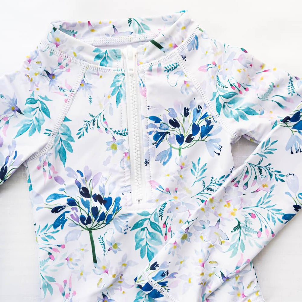 long sleeve girls one piece swimsuit floral